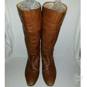 ZARA Tan Leather Riding Boots